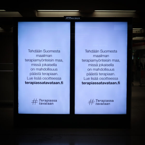 Kampanjen Terapiassa tavataan missar poängen med finländares terapivanor.