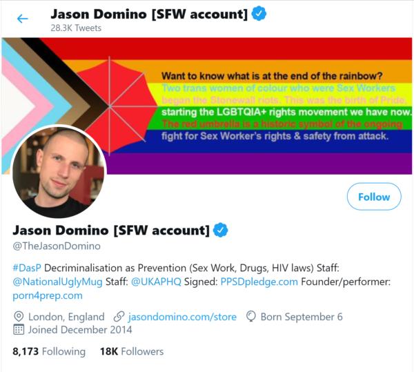 Skärmdump av Jason Dominos Twitterprofil.
